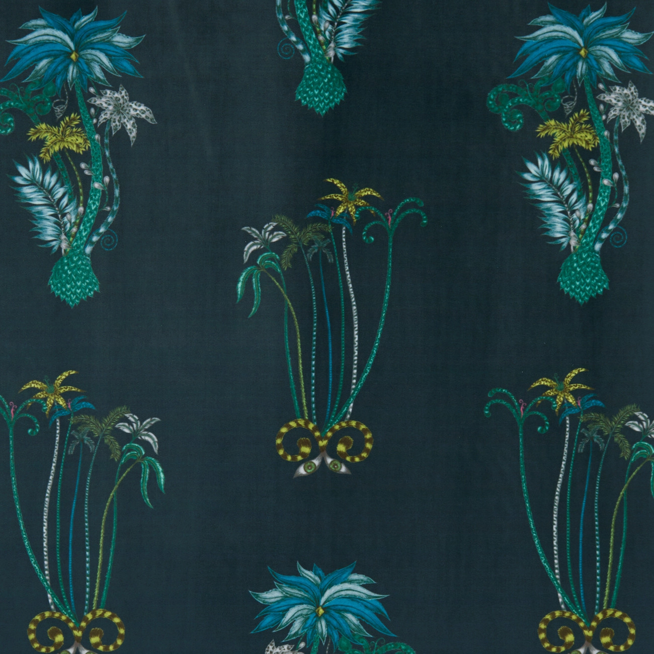 Jungle Palms Navy Velvet